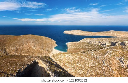 Panoramic view of part of Sikati cave and coast nearby, Kalymnos island, Greece