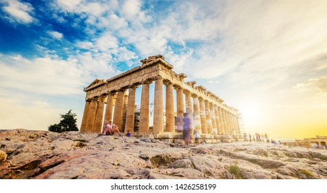 Panoramic view of the Parthenon at sunset, Acropolis, Athens