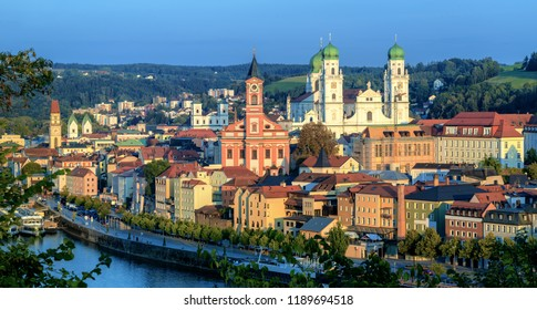 Panoramic view of Passau Old Town on Danube river, Bavaria, Germany