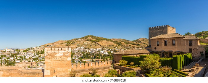 Panoramic view at the Patio Machuca (Alhambra) in Granada - Spain