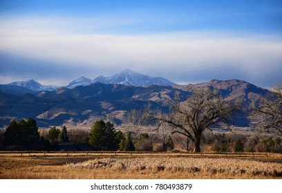 Panoramic view of long's peak on a winter's  afternoon  from the teller farms trail,  in eastern boulder county, colorado