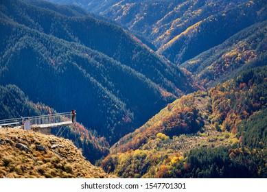 Panoramic view from peak St. Ilia, Rhodope Mountains, Bulgaria.  Autumn landscape of Rodopi mountain-Eagle eye, Orlovo Oko above the village Yagodina and Buynovsko throat.