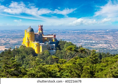 Panoramic view of Pena National Palace in Sintra in a beautiful summer day, Portugal