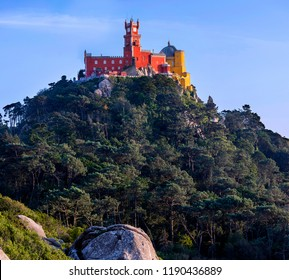 Panoramic view of the Pena Palace in Sintra. Portugal