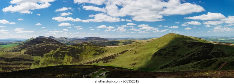 Panoramic view of the Pentland Hills at summer. These gentle rolling hills situated just south of Edinburgh, Scotland, United Kingdom