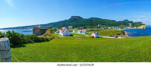 Panoramic view of the Perce village, at the tip of Gaspe Peninsula, Quebec, Canada