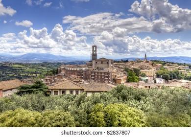Panoramic view of Perugia, Umbria, Italy