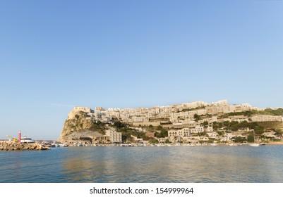 A panoramic view of Peschici, a small touristic village on the Adriatic Sea of Gargano peninsula in Puglia, Italy