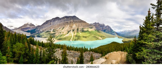 Panoramic view of Peyto lake and Rocky mountains, Alberta, Canada