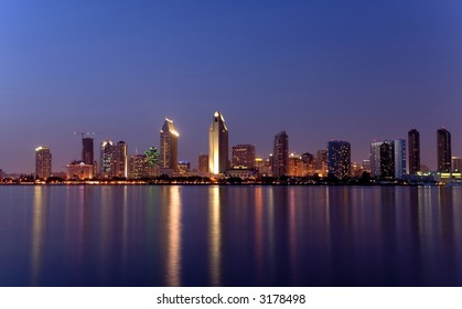 Panoramic view pf San Diego downtown skyline after dusk, from Coronado Island