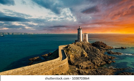 Panoramic view of Phare du Petit Minou in Plouzane with beautiful warm light at sunset. Brittany, France.