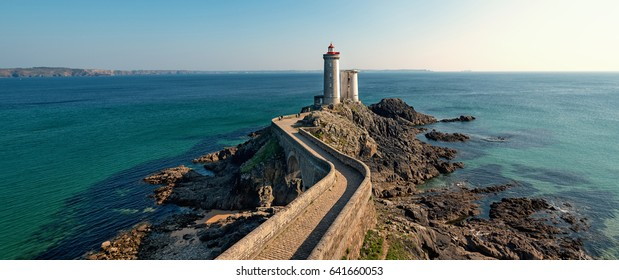 Panoramic view of Phare du Petit Minou in Plouzane. Brittany, France.