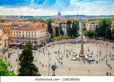 Panoramic view of Piazza del Popolo in Rome, Italy. Rome architecture and landmark.