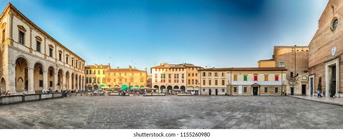 Panoramic view of Piazza Duomo, aka Cathedral's square in the city center of Padua, Italy