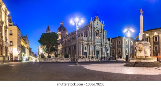 Panoramic view of Piazza Duomo in Catania with the Cathedral of Santa Agatha and Liotru, symbol of Catania, at night, Sicily,