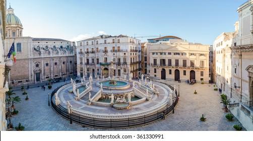 Panoramic view of Piazza Pretoria or Piazza della Vergogna, Palermo, Sicily, Italy