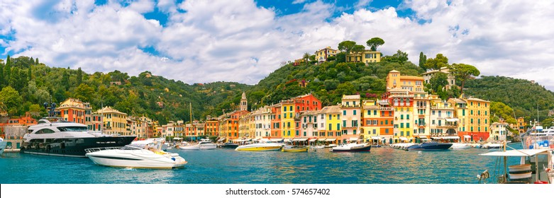 Panoramic view of picturesque harbour of Portofino fishing village on the Italian Riviera, Liguria, Italy.