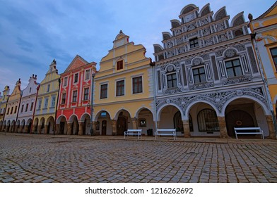 Panoramic view of picturesque main square in Telc. Colorful renaissance and baroque buildings. Summer morning landscape. A UNESCO World Heritage Site. Southern Moravia, Czech Republic.