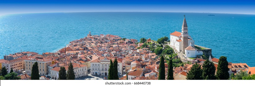 Panoramic view of Piran with St. George´s Parish Church in Slovenia. The church was built in the venetian renaissance architectural style.