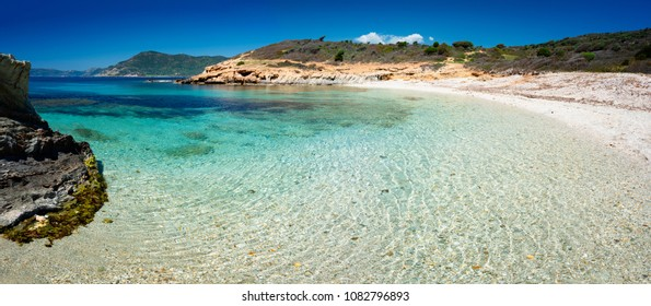 Panoramic view of Piscinni' ( Teulada Sardinia) bay with calm and turquoise sea.