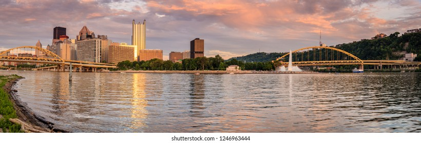 Panoramic view of Pittsburgh skyline and Point State Park from the Ohio River