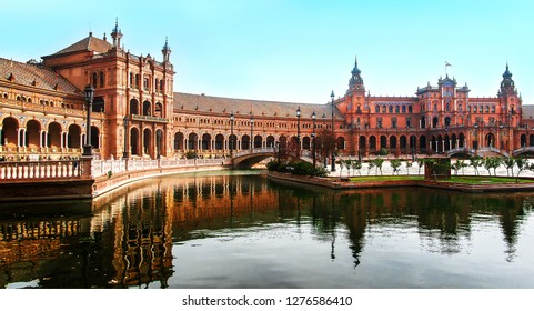 Panoramic view of Plaza de Espana, Seville, Spain is a lovely spring morning