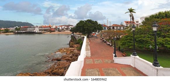 Panoramic view in the Plaza de Francia, Casco Viejo, Panama City, Panama