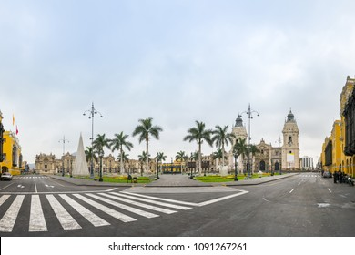 Panoramic view of The Plaza Mayor or Plaza de Armas (Arms Square), the birthplace of the city of Lima, as well as the core of the city