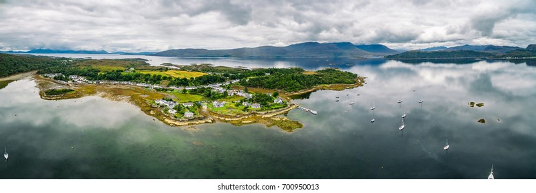 Panoramic view of Plockton Village on the Highlands of Scotland.