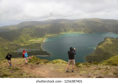 panoramic view point overlooking Lake or Lagoon of Fire, vulcanic crater lake azores