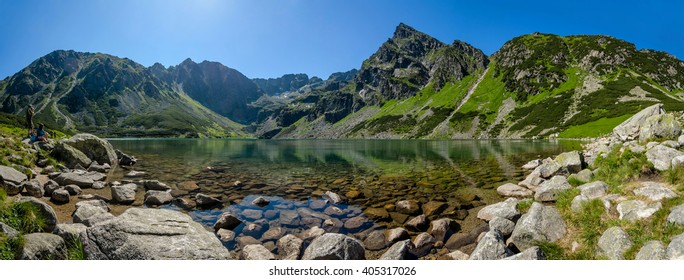 "Panoramic view of the Polish Black Pond ""Czarny Staw"" in the High Tatra Mountains, Poland"