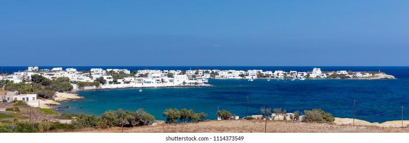 Panoramic view of Pollonia village, Milos island, Cyclades, Greece.