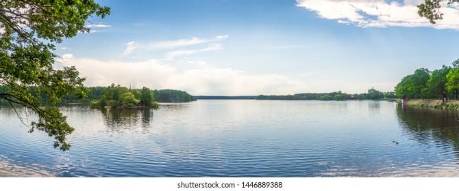 Panoramic view at the Pond Svet (World) in Trebon, Czech Republic