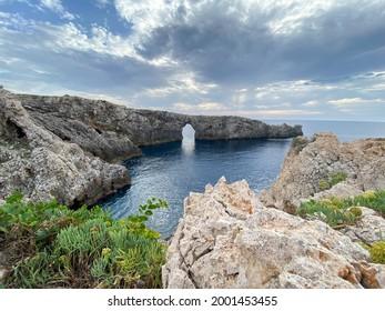 Panoramic view Pont d'en Gil, Menorca, Islas Baleares,  Spain