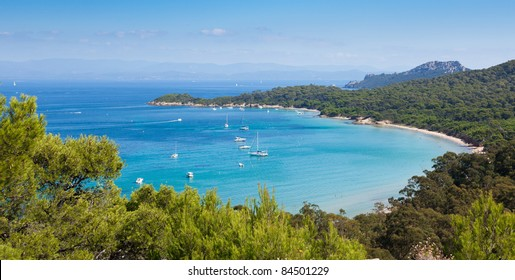 """Panoramic view of Porquerolles island from """" Fort Sainte Agathe """" in France"""