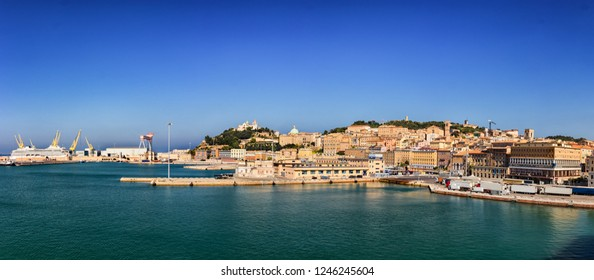Panoramic view of the port of Ancona in the Marche region, Italy.