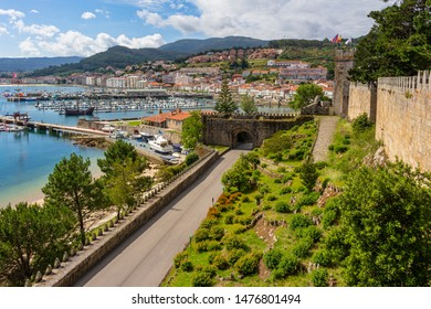 Panoramic view of the port of Baiona from the Fortress of Montereal, Galicia, Spain