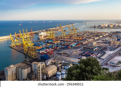 Panoramic view of the port in Barcelona. It is one of the busiest container port in Europe  in Barcelona, Spain.