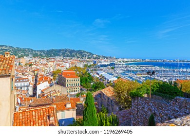 Panoramic view of the port in Cannes, Cote d'Azur, France