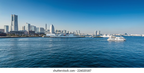 Panoramic view of a port city. Yokohama Minato Mirai 21 Area in