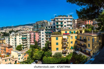 Panoramic view port of Genoa in a summer day, Italy