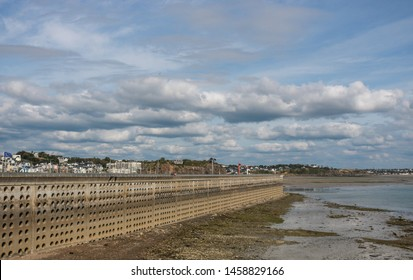 Panoramic view of the port of Granville, at low tide. Region English Channel, Normandy. France.