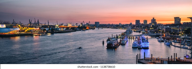 Panoramic view of Port of Hamburg (Hamburger Hafen) with the Elbe river, Germany, Europe