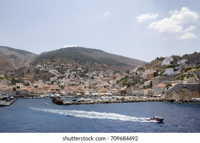 Panoramic view of the port of Hydra town, Hydra island, Attica, Greece