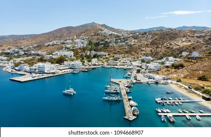 Panoramic view of Port of Ios Island, Cyclades, Greece. View from above