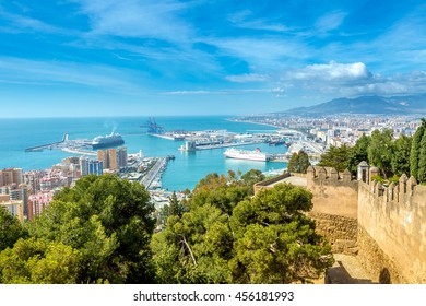 Panoramic view of the port of Malaga from the Gibralfaro Castle. Andalusia, Spain.