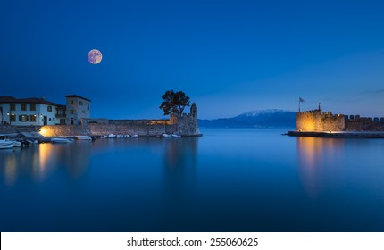 Panoramic view of the port of Nafpaktos in Greece