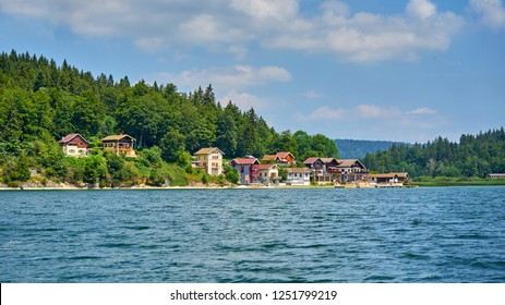 Panoramic View Of Port Titi A Little Hamlet Near Grangettes Doubs France, located on the left bank of Lake Saint Point, Port-Titi was built at the beginning of the last century by a group of fishermen