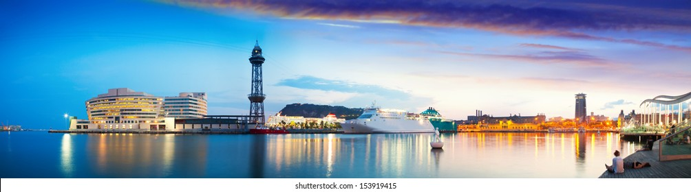 Panoramic view of Port Vell in evening. Barcelona, Catalonia