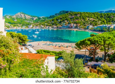 Panoramic view of Porte de Soller, Palma Mallorca, Spain